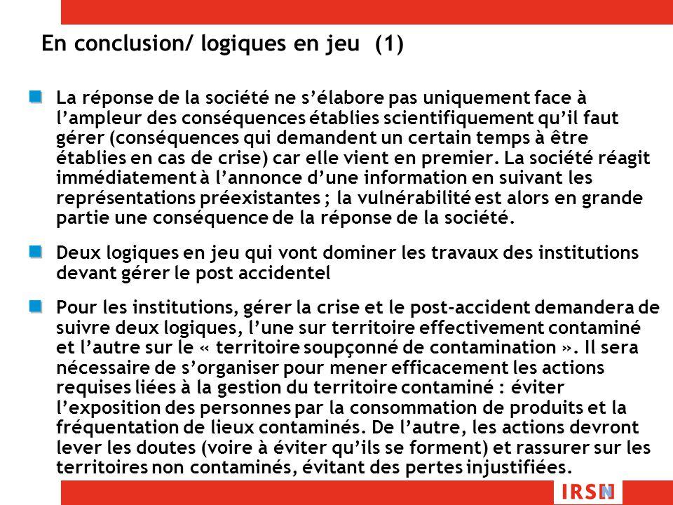 En conclusion/ logiques en jeu (1)