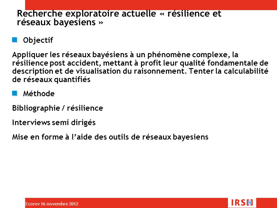 Recherche exploratoire actuelle « résilience et réseaux bayesiens »