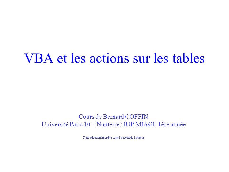 VBA et les actions sur les tables