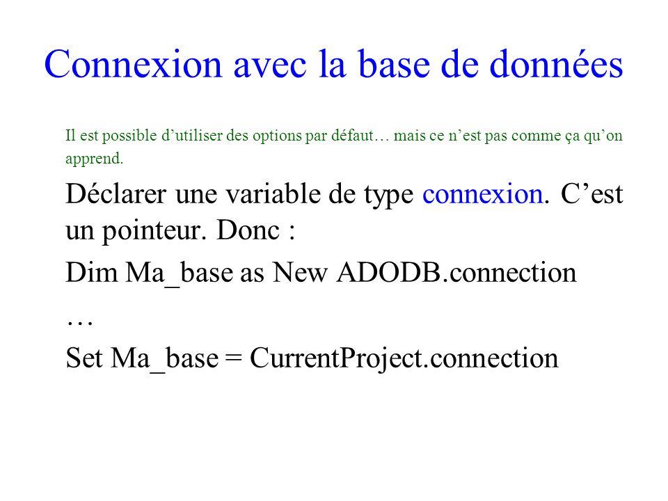 Connexion avec la base de données