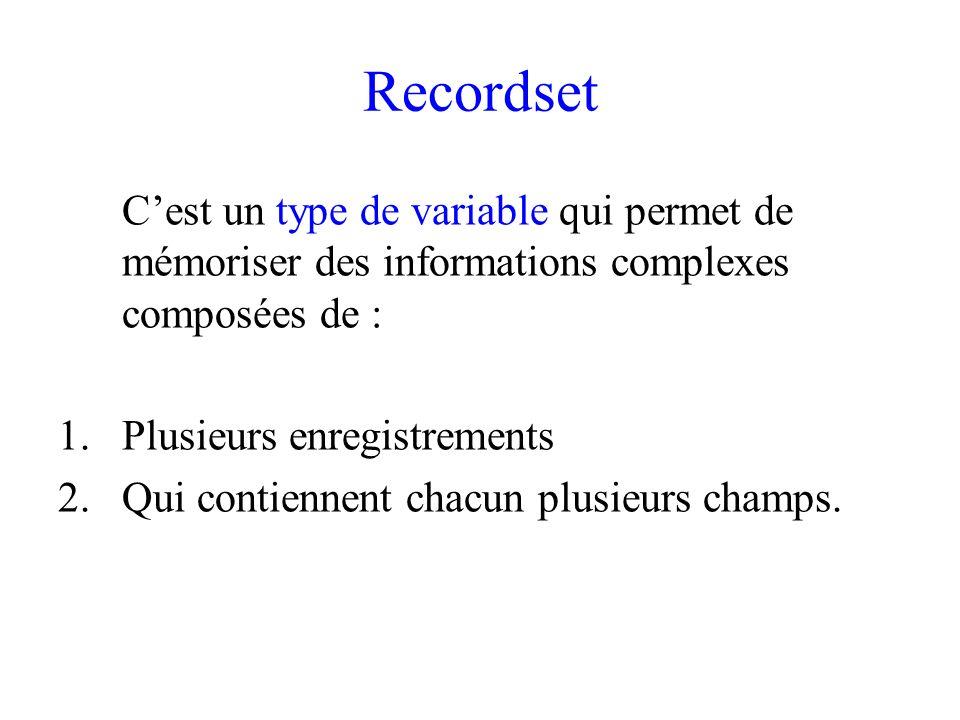 Recordset C'est un type de variable qui permet de mémoriser des informations complexes composées de :