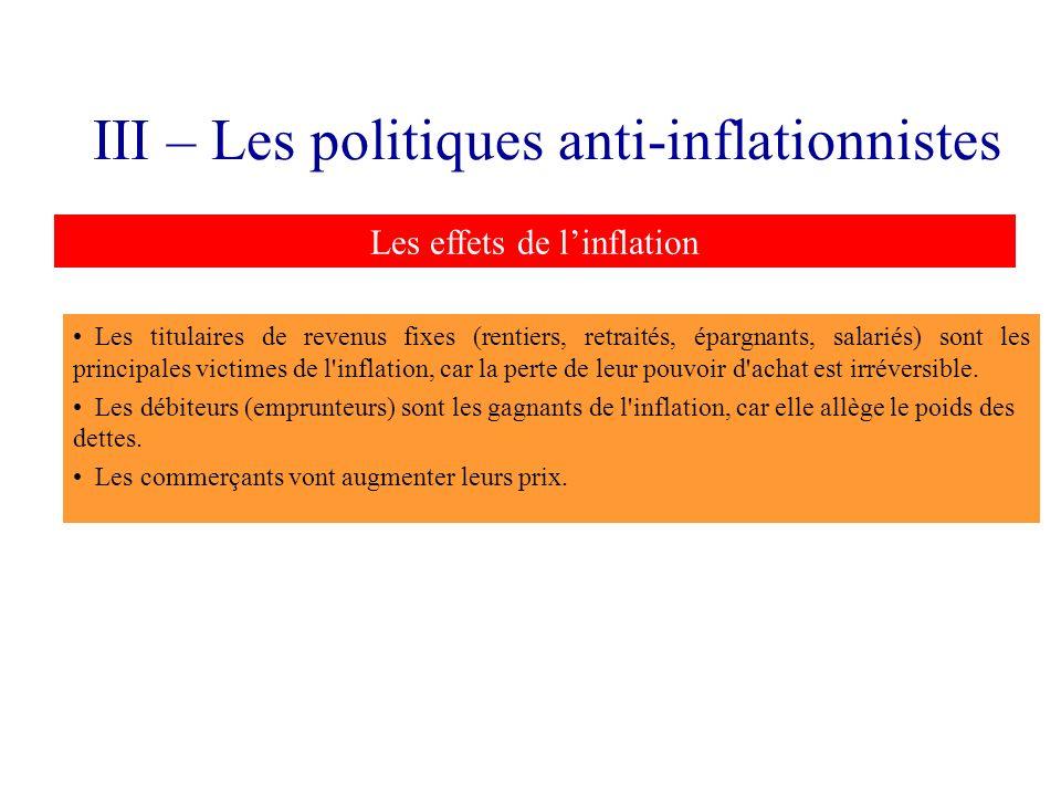 III – Les politiques anti-inflationnistes