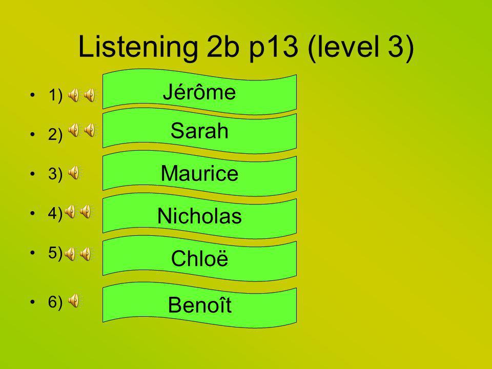 Listening 2b p13 (level 3) Jérôme Sarah Maurice Nicholas Chloë Benoît