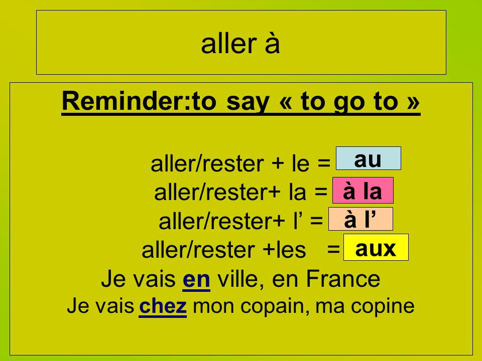 Reminder:to say « to go to »