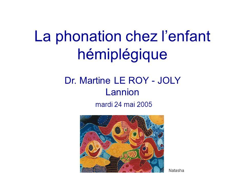 La phonation chez l'enfant hémiplégique Dr