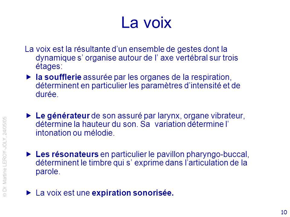 La voix La voix est la résultante d'un ensemble de gestes dont la dynamique s' organise autour de l' axe vertébral sur trois étages: