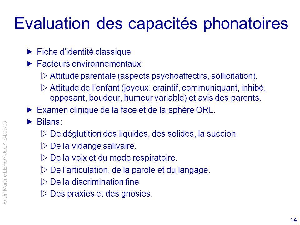 Evaluation des capacités phonatoires