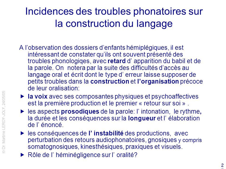 Incidences des troubles phonatoires sur la construction du langage