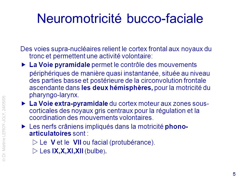 Neuromotricité bucco-faciale