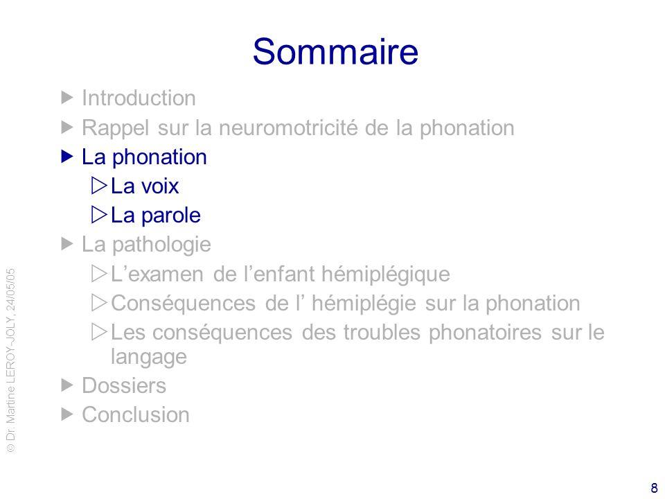 Sommaire Introduction Rappel sur la neuromotricité de la phonation