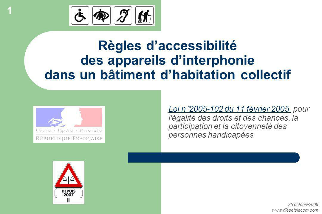 1 Règles d'accessibilité des appareils d'interphonie dans un bâtiment d'habitation collectif.