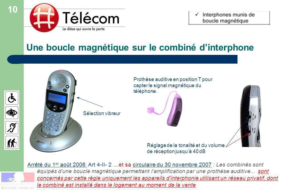 Une boucle magnétique sur le combiné d'interphone