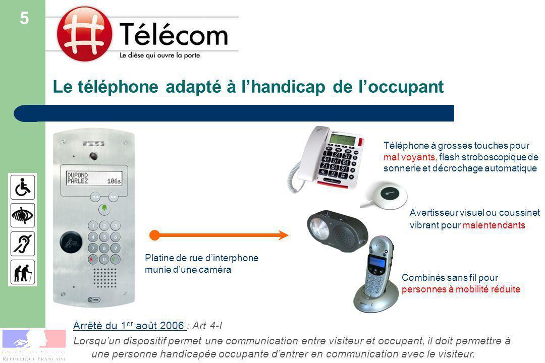 Le téléphone adapté à l'handicap de l'occupant
