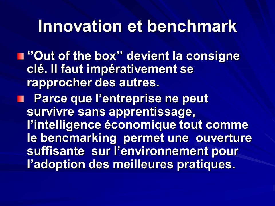 Innovation et benchmark