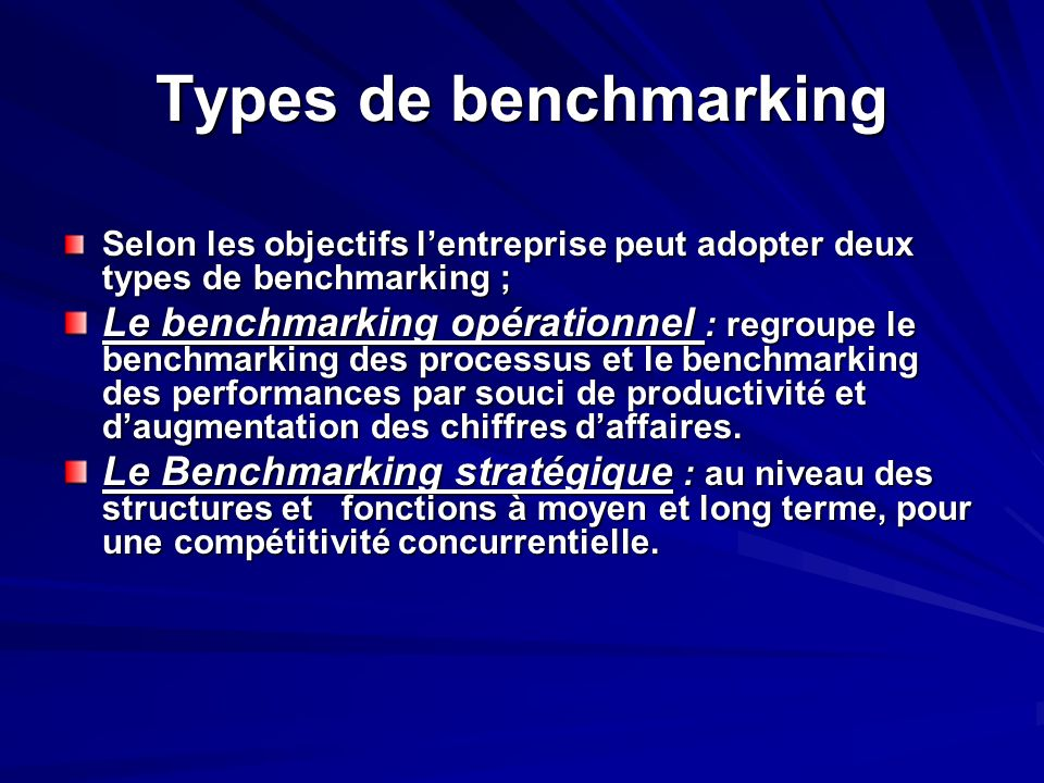 Types de benchmarkingSelon les objectifs l'entreprise peut adopter deux types de benchmarking ;
