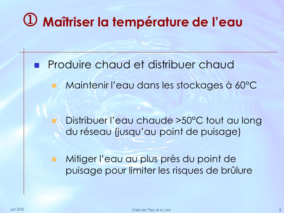  Maîtriser la température de l'eau