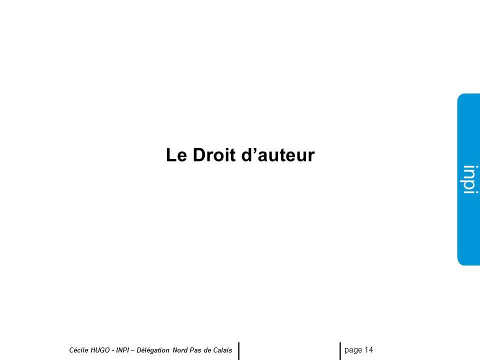 Le Droit d'auteur Cécile HUGO - INPI – Délégation Nord Pas de Calais
