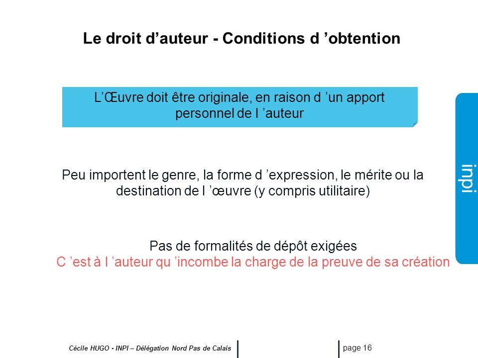 Le droit d'auteur - Conditions d 'obtention