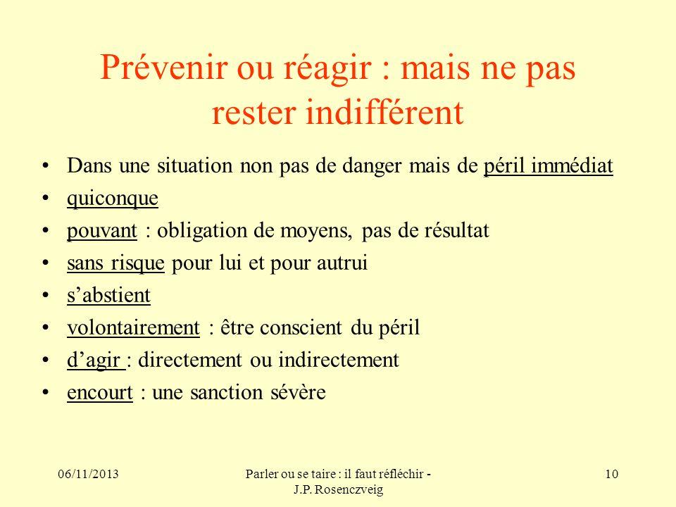 Prévenir ou réagir : mais ne pas rester indifférent