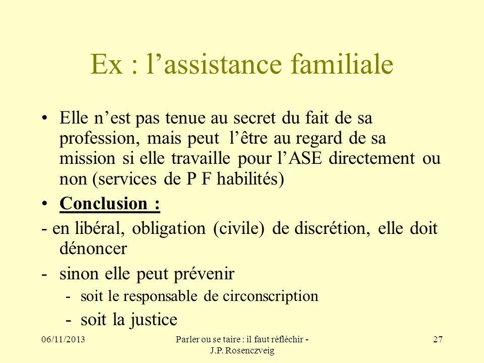 Ex : l'assistance familiale