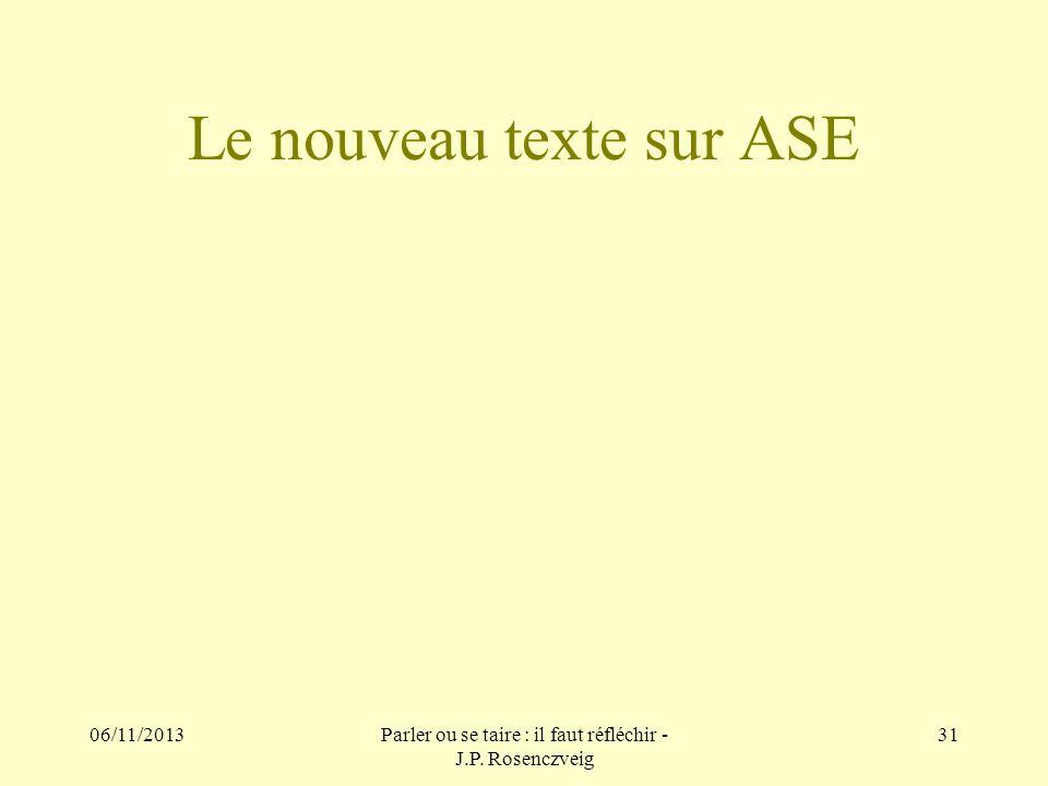 Le nouveau texte sur ASE