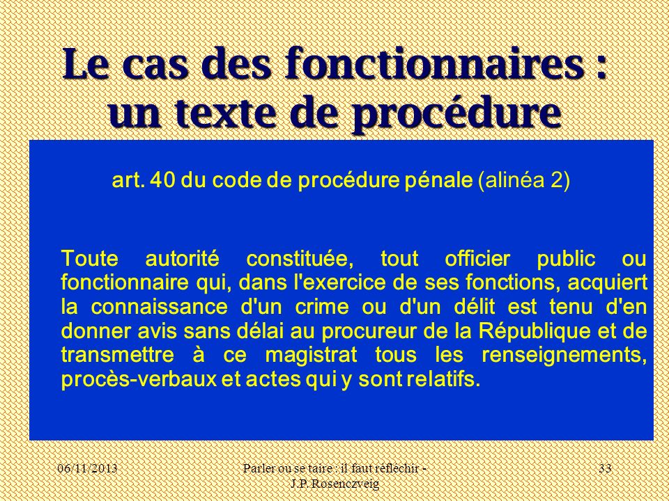 Le cas des fonctionnaires : un texte de procédure