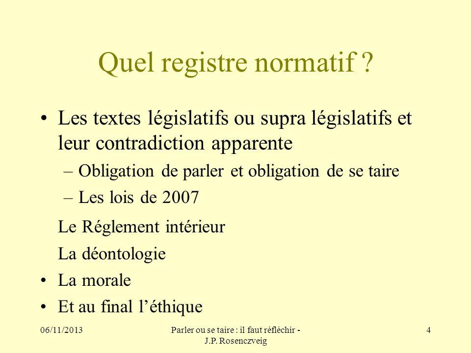 Quel registre normatif