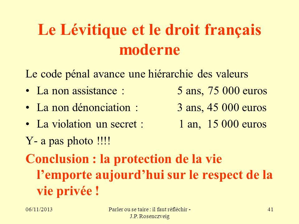 Le Lévitique et le droit français moderne
