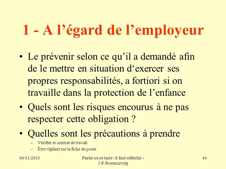 1 - A l'égard de l'employeur