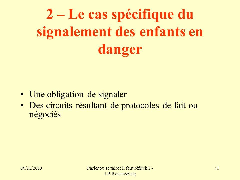 2 – Le cas spécifique du signalement des enfants en danger