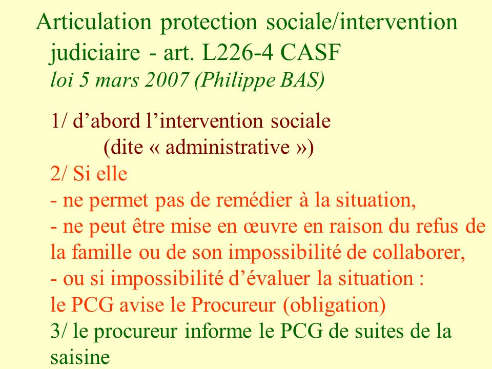 Articulation protection sociale/intervention judiciaire - art