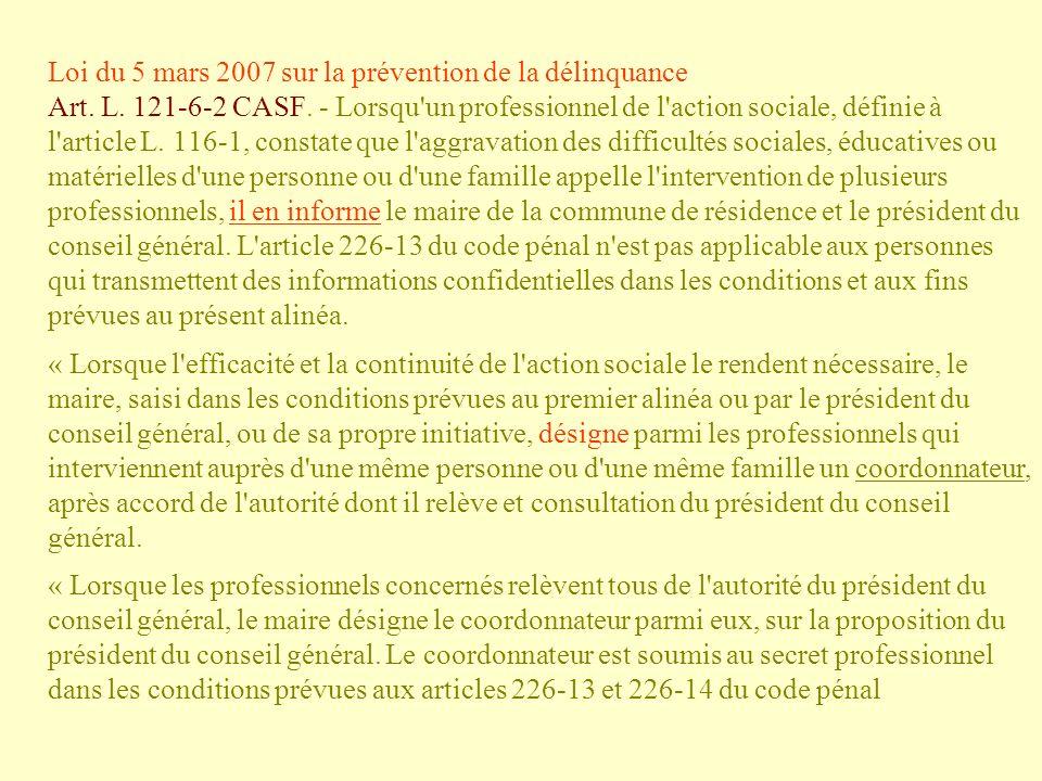 Loi du 5 mars 2007 sur la prévention de la délinquance Art. L