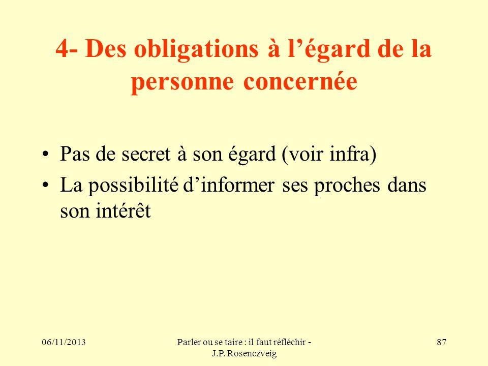 4- Des obligations à l'égard de la personne concernée