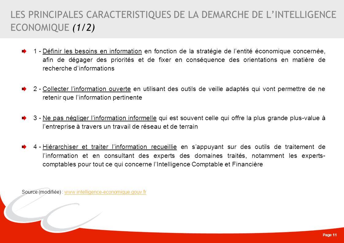 LES PRINCIPALES CARACTERISTIQUES DE LA DEMARCHE DE L'INTELLIGENCE ECONOMIQUE (1/2)