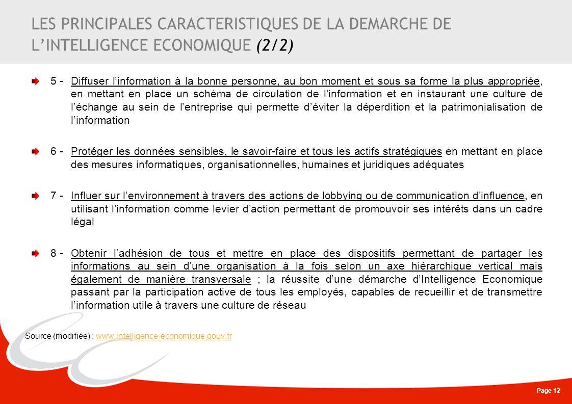 LES PRINCIPALES CARACTERISTIQUES DE LA DEMARCHE DE L'INTELLIGENCE ECONOMIQUE (2/2)