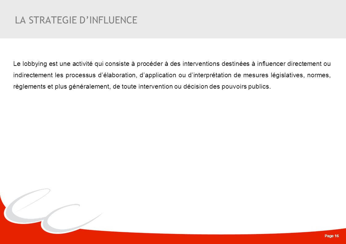 LA STRATEGIE D'INFLUENCE