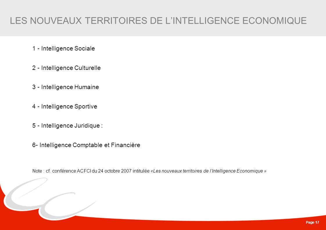 LES NOUVEAUX TERRITOIRES DE L'INTELLIGENCE ECONOMIQUE