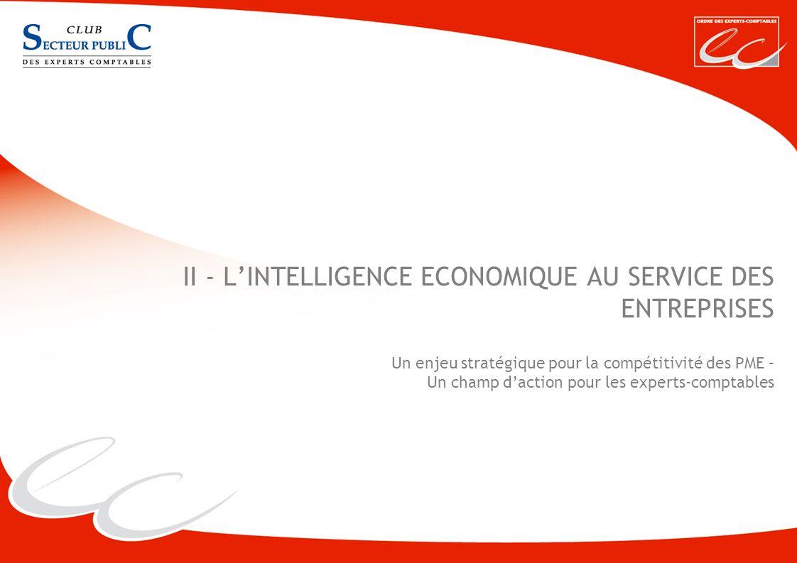 II - L'INTELLIGENCE ECONOMIQUE AU SERVICE DES ENTREPRISES Un enjeu stratégique pour la compétitivité des PME – Un champ d'action pour les experts-comptables