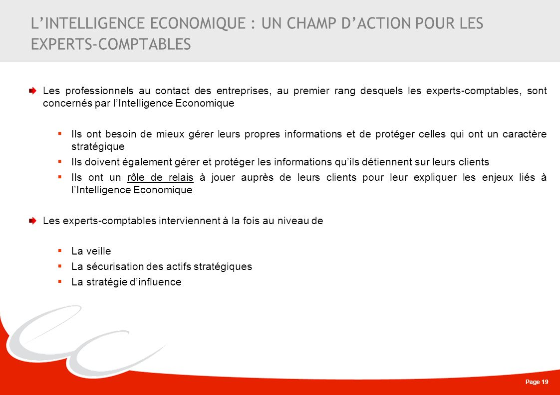 L'INTELLIGENCE ECONOMIQUE : UN CHAMP D'ACTION POUR LES EXPERTS-COMPTABLES