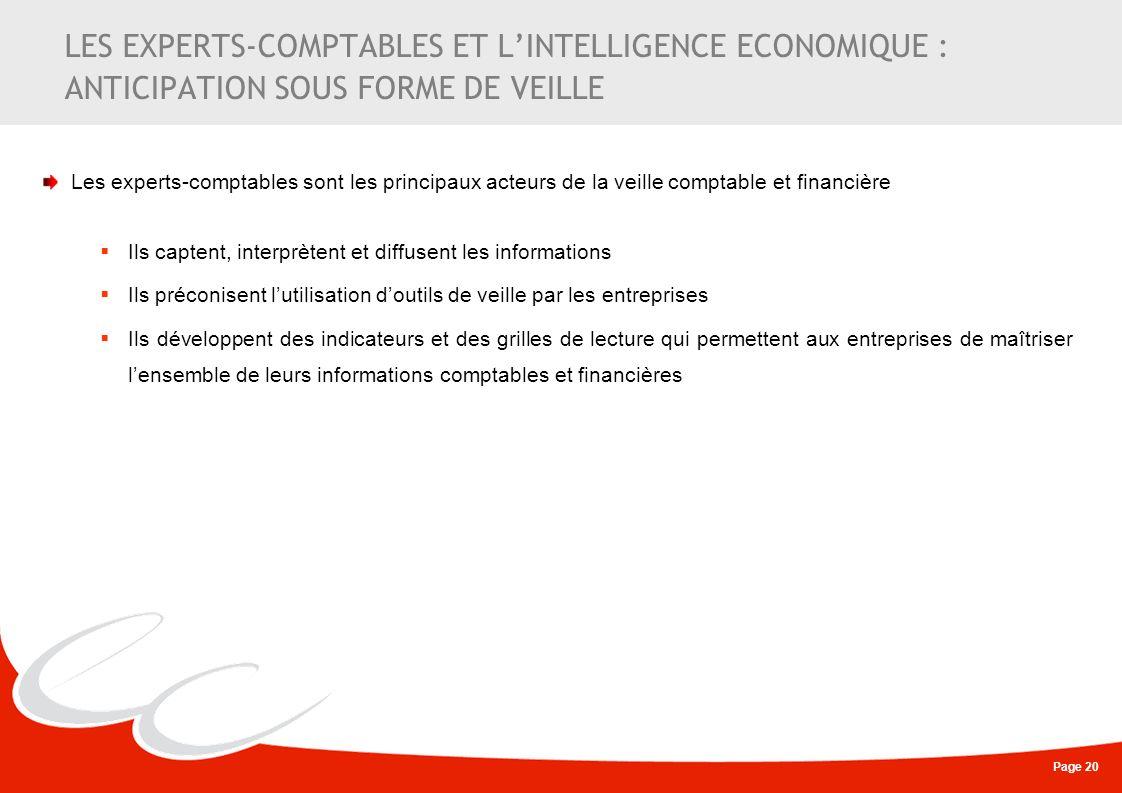 LES EXPERTS-COMPTABLES ET L'INTELLIGENCE ECONOMIQUE : ANTICIPATION SOUS FORME DE VEILLE