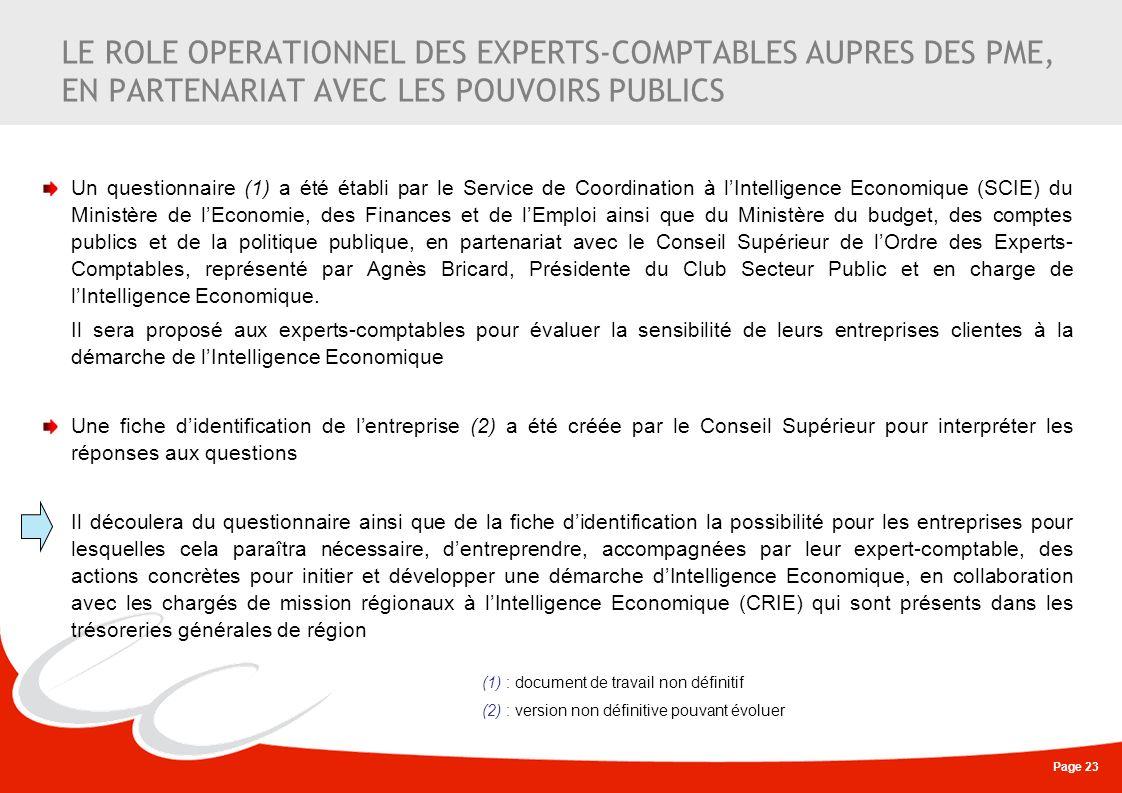 LE ROLE OPERATIONNEL DES EXPERTS-COMPTABLES AUPRES DES PME, EN PARTENARIAT AVEC LES POUVOIRS PUBLICS
