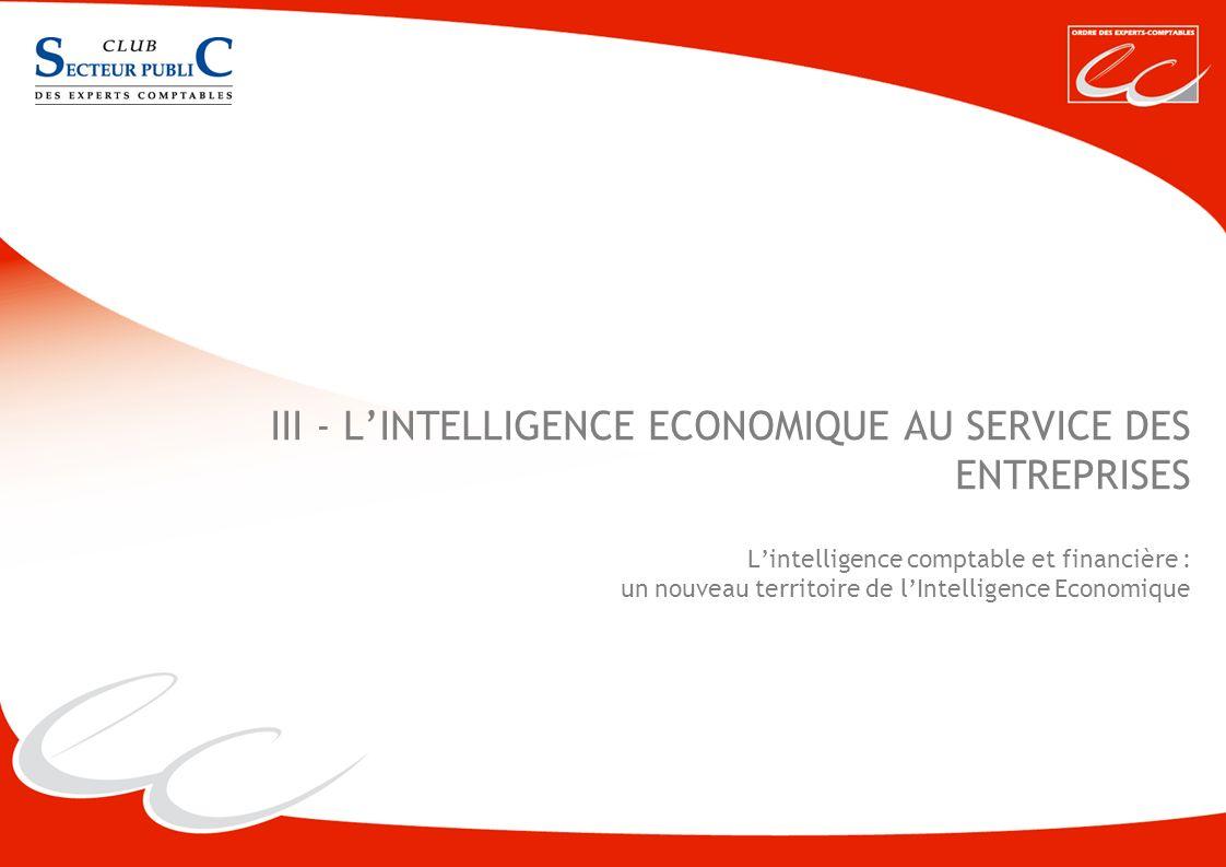 III - L'INTELLIGENCE ECONOMIQUE AU SERVICE DES ENTREPRISES L'intelligence comptable et financière : un nouveau territoire de l'Intelligence Economique