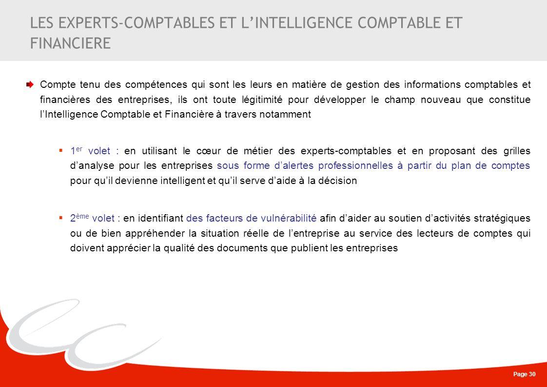LES EXPERTS-COMPTABLES ET L'INTELLIGENCE COMPTABLE ET FINANCIERE
