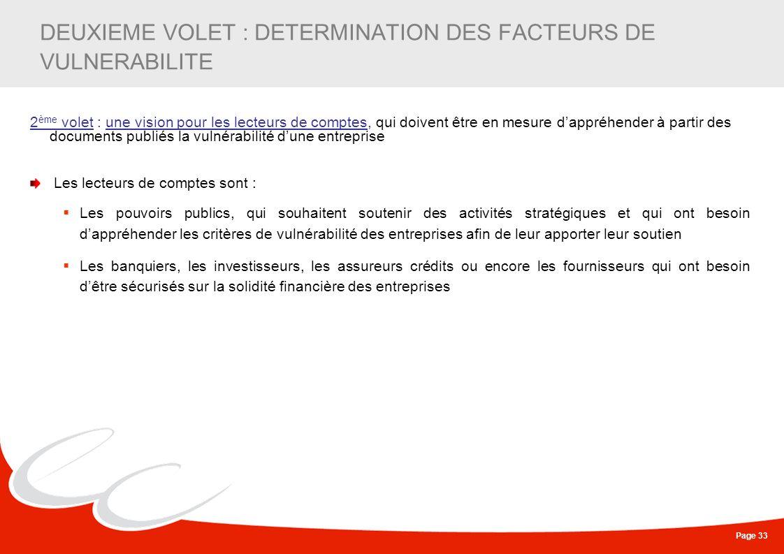 DEUXIEME VOLET : DETERMINATION DES FACTEURS DE VULNERABILITE