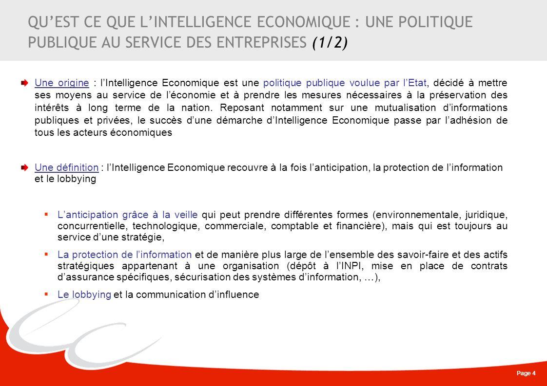 QU'EST CE QUE L'INTELLIGENCE ECONOMIQUE : UNE POLITIQUE PUBLIQUE AU SERVICE DES ENTREPRISES (1/2)