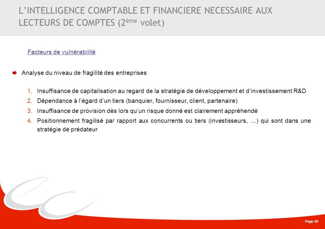 L'INTELLIGENCE COMPTABLE ET FINANCIERE NECESSAIRE AUX LECTEURS DE COMPTES (2ème volet)