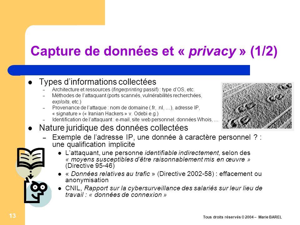 Capture de données et « privacy » (1/2)