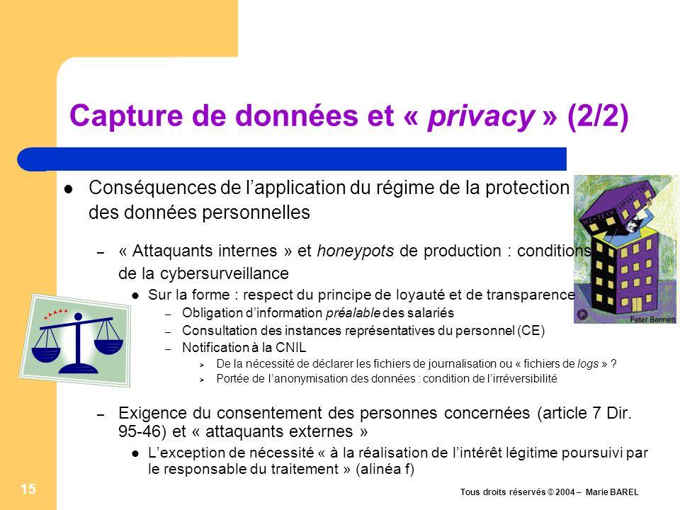 Capture de données et « privacy » (2/2)