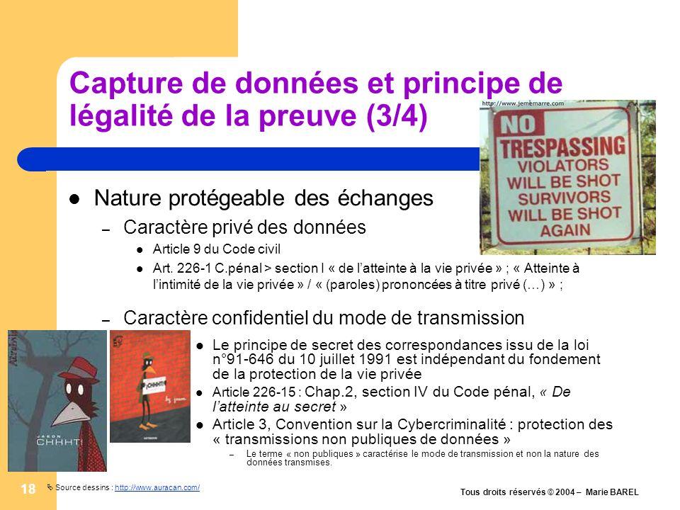 Capture de données et principe de légalité de la preuve (3/4)