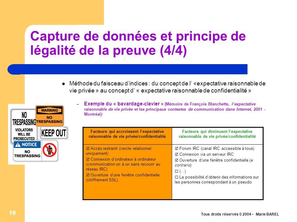 Capture de données et principe de légalité de la preuve (4/4)